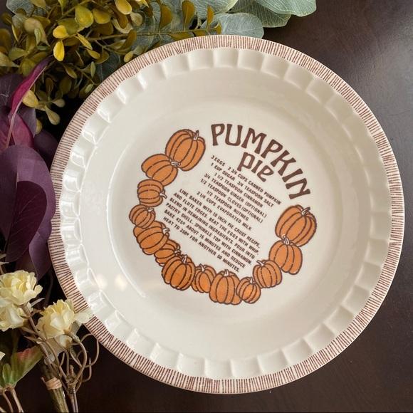 Vintage Other - VINTAGE Pumpkin Pie Porcelain Plate Dish Recipe
